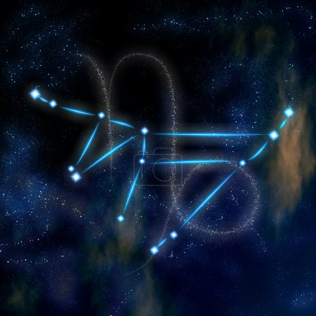Постер, плакат: Capricorn constellation and symbol, холст на подрамнике