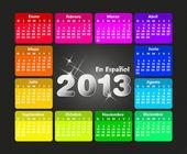 Colorato calendario 2013 in spagnolo. settimana inizia domenica