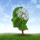 Concetto di demenza di perdita di memoria a causa di malattia di alzheimer con licona del medico di un albero a forma di una testa umana e il cervello con foglie persi come pensieri e funzione della mente