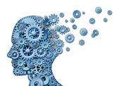 Perdita di cervello e perdendo la memoria e lintelligenza a causa di traumi neurologici e testa malattia infortunio o alzheimers causate da invecchiamento con ingranaggi e ruote dentate a forma di un volto umano, mostrando la perdita cognitiva e la funzione del pensiero