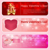 Valentine horizontal banners Pink red Vector illustration