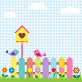 Background with birds and birdhouse