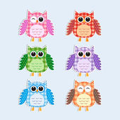 Colorful owlsVector textile stickers