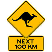 Next 100 kilometers a Kangaroo danger as a Clip Art