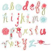 Unique vector flower font Amazing hand drawn Alphabet