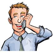 Cartoon office worker on the phone He is smiling