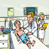 Cartoon doctor attending a young patient in a hospital room