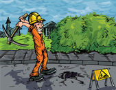 Cartoon of labourer using a pick axe to dig a hole in the road