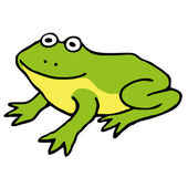 Simple green and yellow cartoon frog