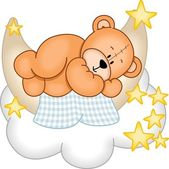 Image representing a sweet dreams teddy bear sleeping on the moon isolated on white vector design