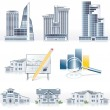 Постер, плакат: Vector detailed architecture icon set