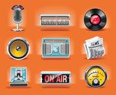 Set of shiny radio related icons