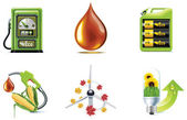 Set of the green fuel and electricity related icons