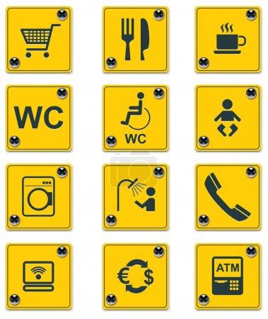 Постер, плакат: Vector roadside services signs icon set Part 2, холст на подрамнике