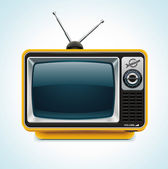 Detailed icon representing yellow retro tv with antenna