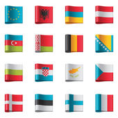 Set of detailed flags as textile ribbon tags