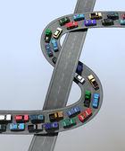 3D illusztrációja egy forgalmi dugó