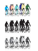 Bicycle road racers group 3 color versions