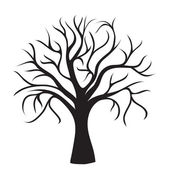 Black tree without leaves on white background vector image