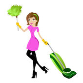 Cleaning lady with feather duster and vacuum