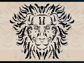Lion head created from many decorative swooshes and ornate details