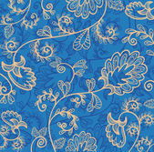 Vector blue wallpaper with beautiful abstract flowers