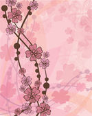 Vector pink wallpaper with beautiful abstract japanese flowers
