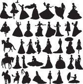 Viele Silhouetten der Bräute in unterschiedlichen Situationen und Kleider