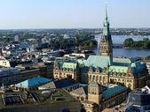 Hamburk, letecký pohled na radnici