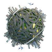 Konzeptionelle Minature Globus mit Straßen und Städte