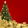 thumbnail of Christmas tree isolated on red