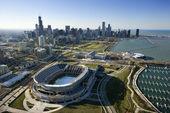 Veduta aerea di chicago, skyline illinois con campo di soldato