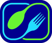 Illustration art of a fork and spoon logo with isolated background