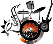 Illustration art of orchestra logo with isolated background