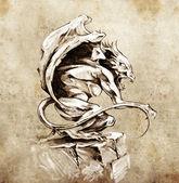 Sketch of tattoo art, gargoyle demon, design elements over vinta