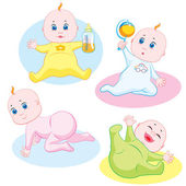 Four cute babies playing and smiling