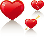 3 red vector icons: simple heart broken heart and heart with arrow