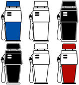 Two different gas pumps with color variations