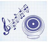 Doodle audio speaker on a paper background