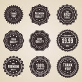 Set of 9 detailed premium quality labels in retro style