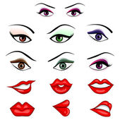 Vector illustration of collection of many eys and lips with different expression