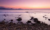 Colorful sunrise on the rocky coast of Black sea