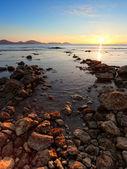 Sunrise on the rocky coast of Black sea