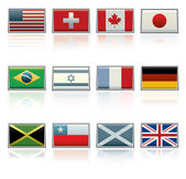 Sixteen vector flag icons (USA Switzerland Canada Japan Brazil Israel France Germany Jamaica Scotland and Britain