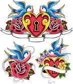 Vrabec srdce a květiny znak