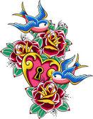 Sparrow heart and flower emblem