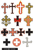 A selection of crosses design elements some ornate some simple Whether you need a cross to embroider on the pope's hat or tattoo on the side of a biker's neck we've got you covered!