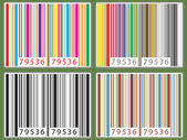 Barcode set of four in different multi-colors