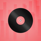 Vinyl record with red rectangle effect background