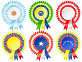 Rosettes to represent South American countries including Argentina Brazil Peru Chile Colombia and Venezuela
